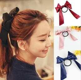 Wholesale Girls Ribbon Ponytail Hair Bow - 10%off 2015 new baby girl Women Pretty Ribbon Bow Hair Tie Rope Hair Band Scrunchie Ponytail Holder 10pcs lot