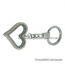 Wholesale Heart Locket Keychain - Rhinestone heart Magnetic floating locket Keychain zinc alloy floating living locket Free shipping