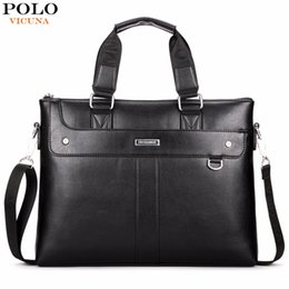 Wholesale Computer Dress - VICUNA POLO Classic Business Man Briefcase Brand Computer Laptop Shoulder Bag Leather Men's Handbag Messenger Bags Men Bag Hot