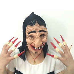 Wholesale Witch Box - Fun Latex Horror Full Face Witch Mask Red Fingernail Carnival Party Masks Christmas New Year