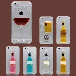 Wholesale Beer Hard Case Iphone - Luminous Liquid Beer Cocktail Red Wine 3D Case Hard Back Cover Shell For iPhone 4S 5S 6 6S Plus Samsung S6 S5