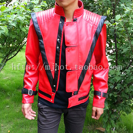Wholesale Men S Red Leather Jacket - wholesale 2015 winter michael jackson pu leather dance jacket motocycle windproof jacket white red 2color free shipping