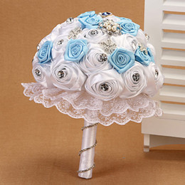 Wholesale High Quality Wedding Bouquet - New Arrivals Sky Blue With Lace Patterns Beautiful Wedding Decoration Ramo Novia Wholesalers High Quality Cheap Bride Bouquets