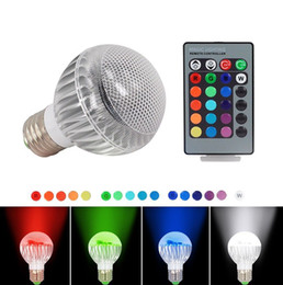 Wholesale 9w Color Changing Led Bulb - 2015 New IC Module 16 Color Changing 9W Globe Ball Bulb RGB LED Lights Lamp E27 B22 With Remote Control Free Drop Shipping