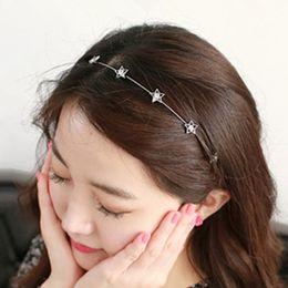 diamante estrellas pelo Rebajas 2014 moda coreana nueva alta calidad fina estrella de cinco puntas diamante estrella diadema pelo aro horquilla joyería plomo