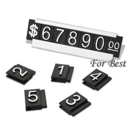 Wholesale Numbered Labels - Wholesale-Silver 30 Sets Free Shipping Jewelry Price Display Label Tag Adjustable Number Counter Cube Dollar Sign With Base Stand 00-9 $