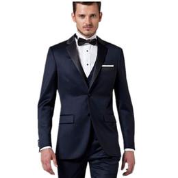 Nuovi uomini blu navy che si vestono per sposini dello sposo Abiti da cerimonia per occasioni formali 3 pezzi da uomini argento gay fornitori