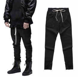 Wholesale Waist Slimming Bands - New Fashion Mens Waist Banding Black Cargo Pants Slim Fit Ankle RIRI Zipper Fog Vintage High Street Trousers 2018