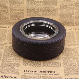 Уникальные резиновые большие шины пепельница безопасное и чистое стекло пепельница творческий украшения рабочего стола мужчины лучший подарок ZA5465 от