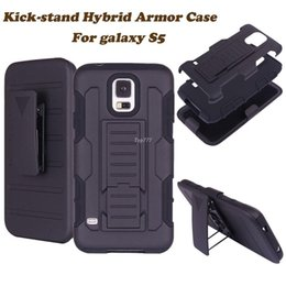 Wholesale Black Belt Swivel Clip - 2 in 1 Impact Black Armor Hybrid Case With Belt Swivel Clip Stand for Samsung Galaxy S5 SV I9600 S 5 Mobile Phone Cover