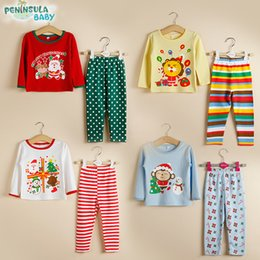 Wholesale Girls Christmas Shirt - 2016 kids Christmas spring autumn 2pcs set girls boys long sleeve shirt + long pants homewear children New Year gift 4style for choose