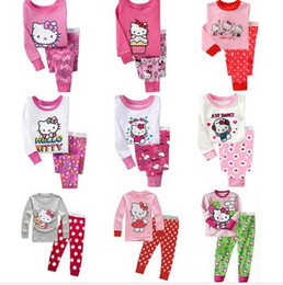 Wholesale Wholesale Childrens Pyjamas - Spring Autumn Hello Kitty Baby Boys Girls Kids Childrens Pijamas Long Sleeve Cotton Pyjamas Sleepwear Pajamas Clothing Sets