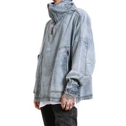Wholesale Best Casual Coats Men - 2018 NEW Best Version Kanye west OVERSIZE Half zipper high collar men jean jacket hip hop Fashion Casual BIKER Coat Blue M-XL