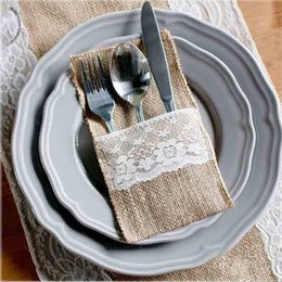 """Wholesale decoration pails - Vintage 4""""x 8"""" Hessian Burlap Lace Wedding Tableware Pouch Cutlery Holder Decorations Favor Supplies Free Shipping"""