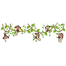 Wholesale Tree Branches Wall Stickers - Naughty Monkey with Green Leaves Tree Branch Wall Decor Sticker Monkey playing on the tree Wall Art Mural Sticker Kids Nursery Wall Decor