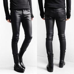Wholesale Boots Coat - Korean Style Black Skinny Jeans Men Coated Denim Pants Washed Long Pencil Pants Slim Fit Boots Jeans M L XL XXL