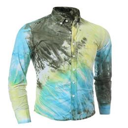 Wholesale Mens Gold Dress Shirts - Wholesale-New high quality 3 d tie-dye printing splicing men shirt cool and refreshing summer leisure Hawaii mens dress shirts