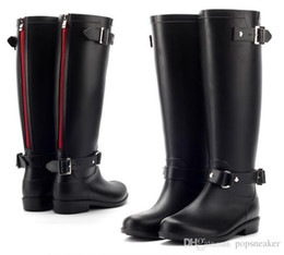 Wholesale Tall Waterproof Boots Women - RAINBOOTS fashion Women Knee-high tall rain boots waterproof welly boots Rubber Brand rainboots water shoes rainshoes