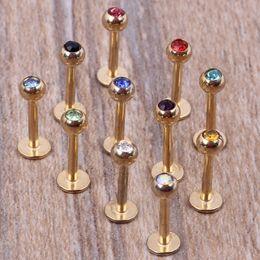 Wholesale Lip Piercing Jewelry Gold - Gold lip bar 100pcs lot mix 7 colors steel body jewelry piercing lip ring labret