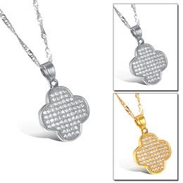 Wholesale Clover Design Necklaces - Two Color Covered Zircon Clover Pendant Popular Titanium Steel Women Men Necklace Jewelry Classical Design Birthday Present