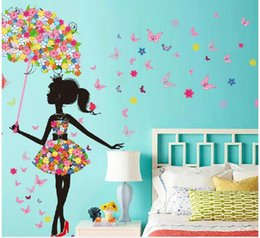 Wholesale Stickers For Wedding - 3D Butterfly Flower Romantic Wall Sticker Gorgeous Fairy Girl Riding Bike Spring Wedding Room DIY Home Removable Wall Decal