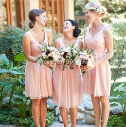 Wholesale Bridesmaid Short Peach Sexy - In Stock $69.99 Chiffon Short Bridesmaid Dresses 2016 Sexy V Neck Knee Length Peach Pink Party Gowns for Weddings Formal Dresses