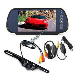 "Wholesale Mirror License Plates - Wireless License Plate 7 LED IR Reverse Camera + 7"" LCD Monitor Car Rear View Mirror kit 10pcs lot"