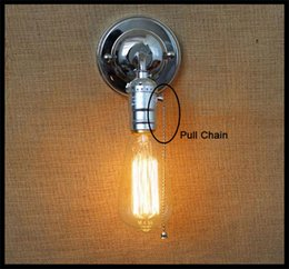 Wholesale Iron Switch - 120v 230v Pull chain switch scone wall lights E27 Chrome plate american retro vintage iron wall lamp 90V-240V Antique lamp industrial