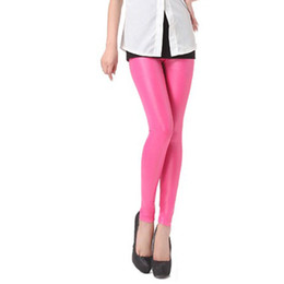 Wholesale Wine Red Leggings - Black Rose Red Wine Red Spring Autumn Women Stretch Warm Faux Leather Trousers Sexy Casual Pencil Pants Leggings