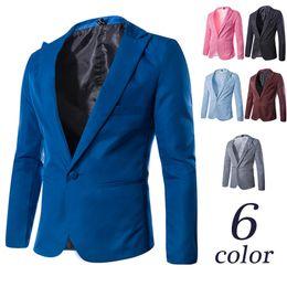 Wholesale Navy Cotton Blazer - New Arrival Single Button Leisure Blazers Men Male 2015 Fashion Slim Fit Casual Suit Red Navy Blue Blazer Dress Clothing M-3XL