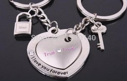 Wholesale Double Heart Keychain - Wholesale-Couple keychain Double Heart Key Chain Alloy Ring Chain Set for Lovers Metal Key Rings KC001