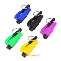 Wholesale toyota seat wholesale - 100pc 3 in 1 Car Window Glass Safety Emergency Hammer Seat Belt Cutter Tool Keychain Free Shipping