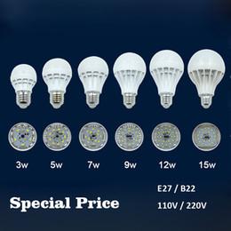 Wholesale Cheap 5w Led Lights - Cheap Price LED Light Bulbs E27 B22 3W 5W 7W 9W 12W 15W 110V 220V 5730 Warm Cold White LED Globe Bulb Lamp