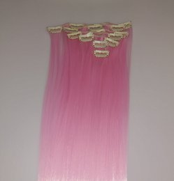 Wholesale Top Piece Clip Extensions - Pink and red 60cm 130g Long Straight Synthetic Hair Clip in hair extensions pieces 7pcs set Top quality