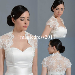 Wholesale Stole Bridal Tulle - Ivory Lace High Neck Front Open Bridal Wraps Jackets Shawl Bolero Shrugs Stole Caps Short Sleeve Women Bridesmaid Wedding Dress PJ024 Cheap