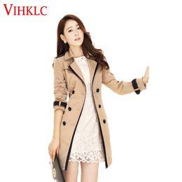 Wholesale Women Trench Coat Korean - Wholesale- Women Trench Coat 2016 Spring Autumn Korean Slim Double-Breasted Coat Pure color Female Retro Casual Coat Plus Size 3XL L925