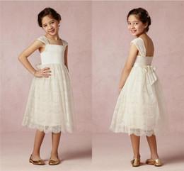 Wholesale Simple Dresses For Pageants - 2015 new sale White Vintage Lace Flower Girls Dresses 2015 A Line Bow Simple Cheap Pageant Dresses Wedding Dresses Birthday Dresses For Kids