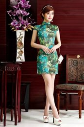 Wholesale Oriental Women Dress - Free shipping oriental dress Green cheongsam traditional chinese dress qipao chinese dresses 038