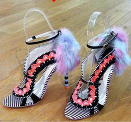 Saltos de pele de coelho on-line-Grânulos de pele de coelho macio elegante salto alto sandálias recorte Colorblock salto alto Embrodiery Stripe impresso sapatos de sandálias Peep Toe