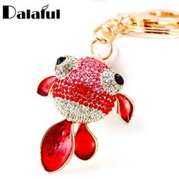 Wholesale Green Led Fishing - beijia Lovely Goldfish Fish Key Chains Rings Holder Crystal Bag Pendant For Car For Women Cute Keyrings KeyChains K272