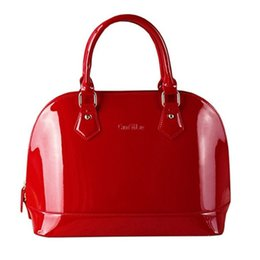 Wholesale Men Leather Totes Clutch Handbag - Wholesale-European fashion women lacquer bag leather shell bags crossbody bags for women handbags cellphone bag ladies Clutch bolsa