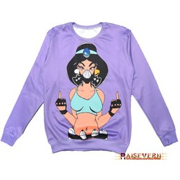 Wholesale 3d Sexy Cartoon Girls - w1213 2015 New novelty sexy cartoon finger ninja hat girl cartoon print 3d Hoodies Pullovers sport hip-hop clothes Galaxy sweatshirts