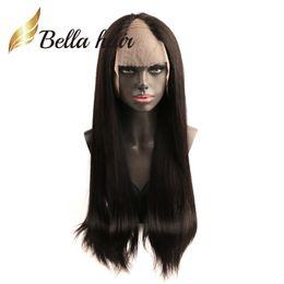 Clips para el pelo humano online-Bellahair 130% 150% U parte peluca de encaje con clips pelucas de pelo peruano recta 24 pulgadas peluca recta larga de cabello humano pelucas ajustables