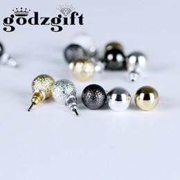 Wholesale Diy Ball Earrings - Godzgift 6Pairs Lot Stud Earrings Ear Cuff Jewellery For Wedding Round Ball Ear Cuff For DIY Jewelry Finding Stud Earrings JE0035