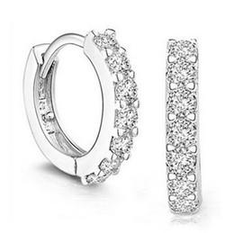 Wholesale Rhinestone Cc Earrings - 925 Sterling Silver Crystal Hoop Earrings Fashion channel Jewelry Diamond White Gemstones Stud Earrings for Women CC-C 77 free shipping