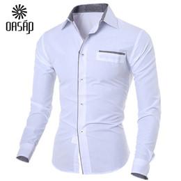 Wholesale Modern Men Shirts - Wholesale-OASAP Modern Long Sleeve Patch Pocket Button Down Man Shirt street chic summer autumn men's shirt classical men's