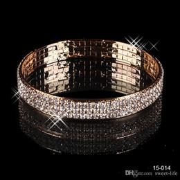 Wholesale Trendy Casual Prom Dress - Luxury 3 Row Rhinestone Gold Plated Arabic Bangle 15014 Wedding Bracelets Bridal Jewelry Women Party Prom Evening Dress Accessories 15014
