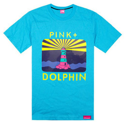 Wholesale Pink Dolphin T Shirt Xl - New Pink dolphin south lovers design dolphin male hiphop T-shirt short-sleeve shirt Men o-neck cotton T-shirt size S-XXXL
