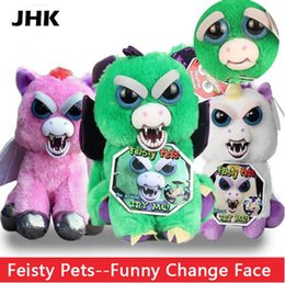 Wholesale Toys For Pranks - Hot Sale Change Face Feisty Pets Plush Toys With Funny Expression Stuffed Animal Doll For Kids Cute Prank toy Christmas Gift