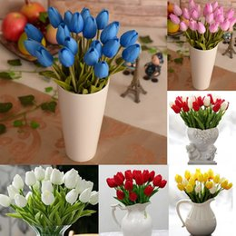 Wholesale White Real Touch Tulips - 20pcs lot Tulip PU Plastic Artificial Flower Wedding Home Decorative Colorful For Wedding Decorations Real Touch Fake flowers FZH031